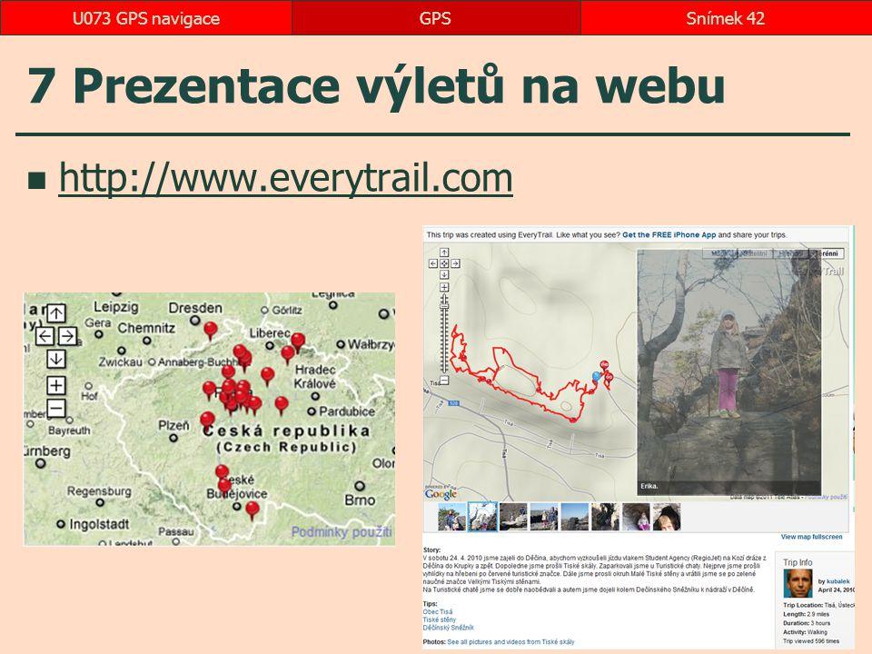 7 Prezentace výletů na webu