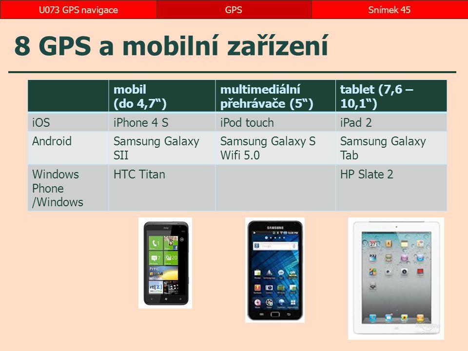 8 GPS a mobilní zařízení mobil (do 4,7 ) multimediální přehrávače (5 )