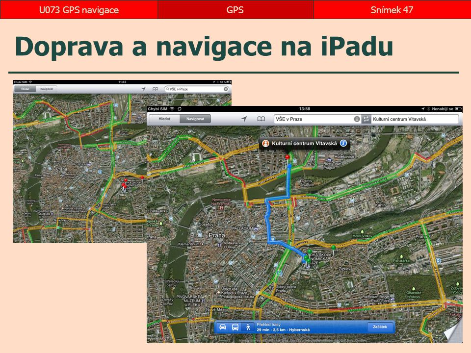 Doprava a navigace na iPadu