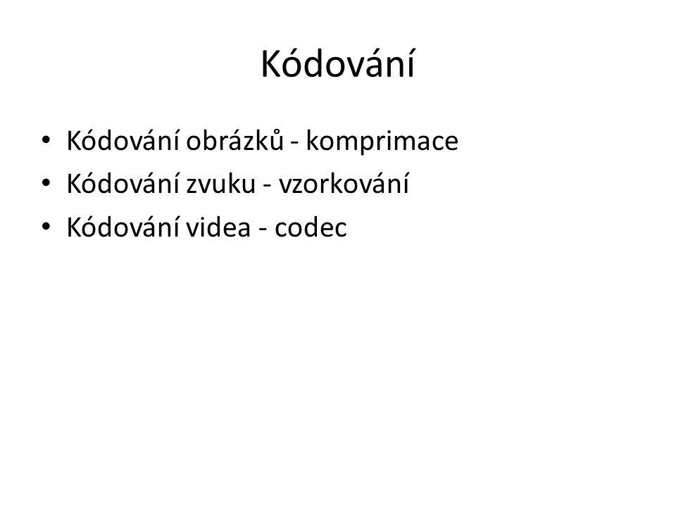 Kódování Kódování obrázků - komprimace Kódování zvuku - vzorkování