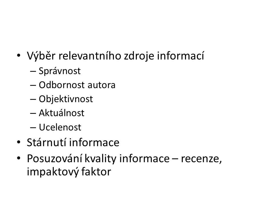 Výběr relevantního zdroje informací