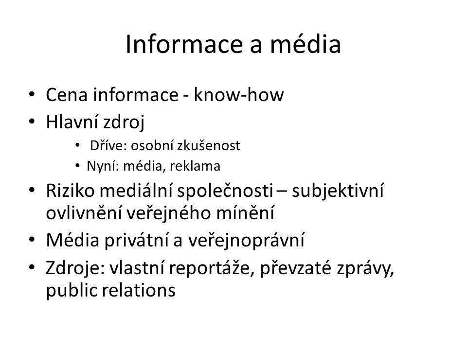 Informace a média Cena informace - know-how Hlavní zdroj
