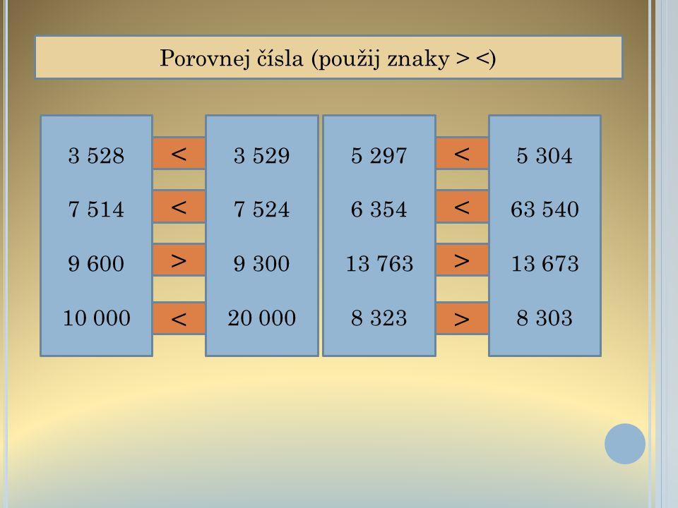 Porovnej čísla (použij znaky > <)