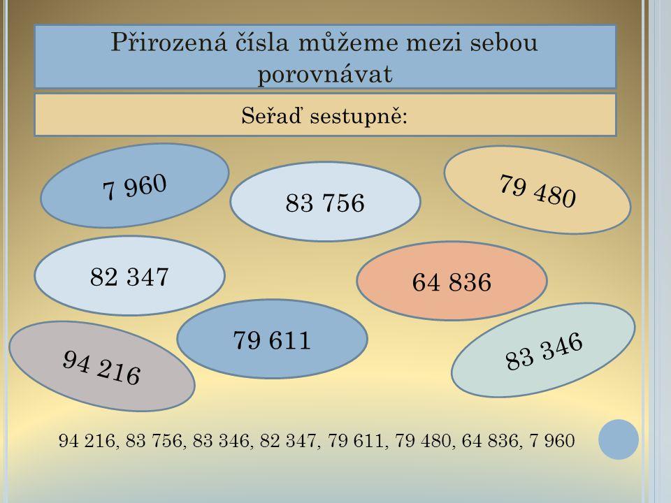 Přirozená čísla můžeme mezi sebou porovnávat