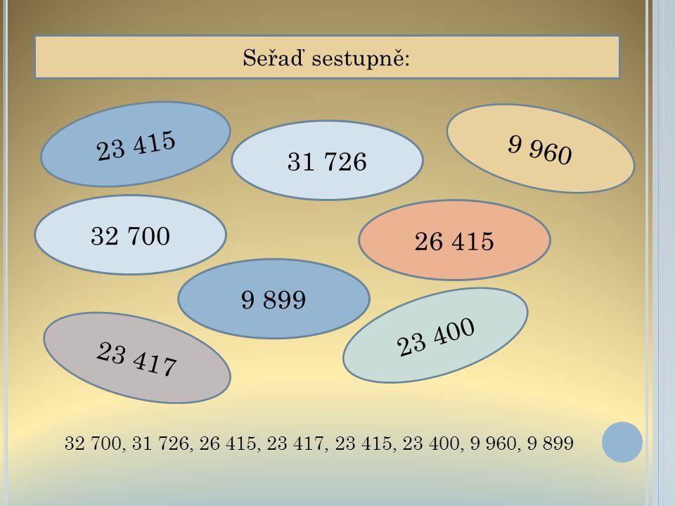 Seřaď sestupně: 23 415. 9 960. 31 726. 32 700.