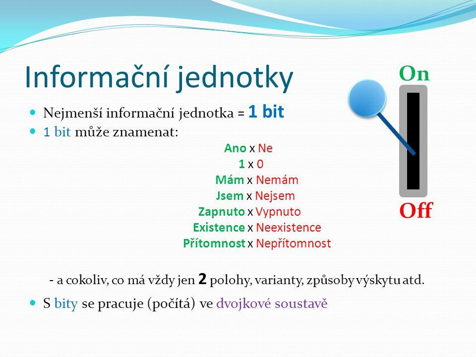 Informační jednotky On Off Nejmenší informační jednotka = 1 bit
