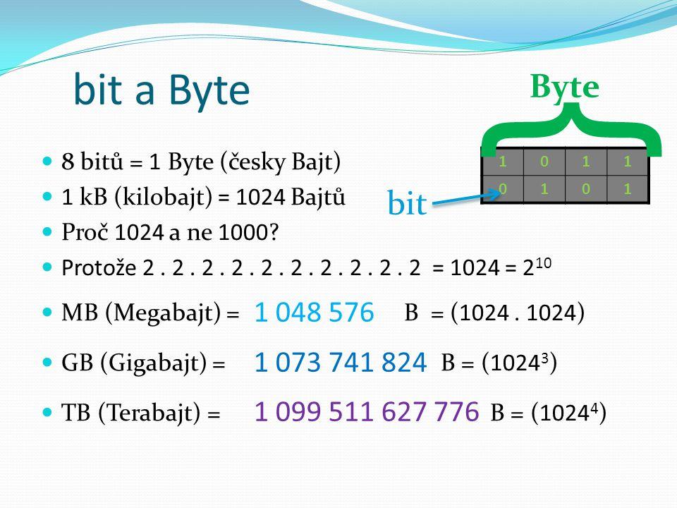 bit a Byte } Byte. 8 bitů = 1 Byte (česky Bajt) 1 kB (kilobajt) = 1024 Bajtů. Proč 1024 a ne 1000
