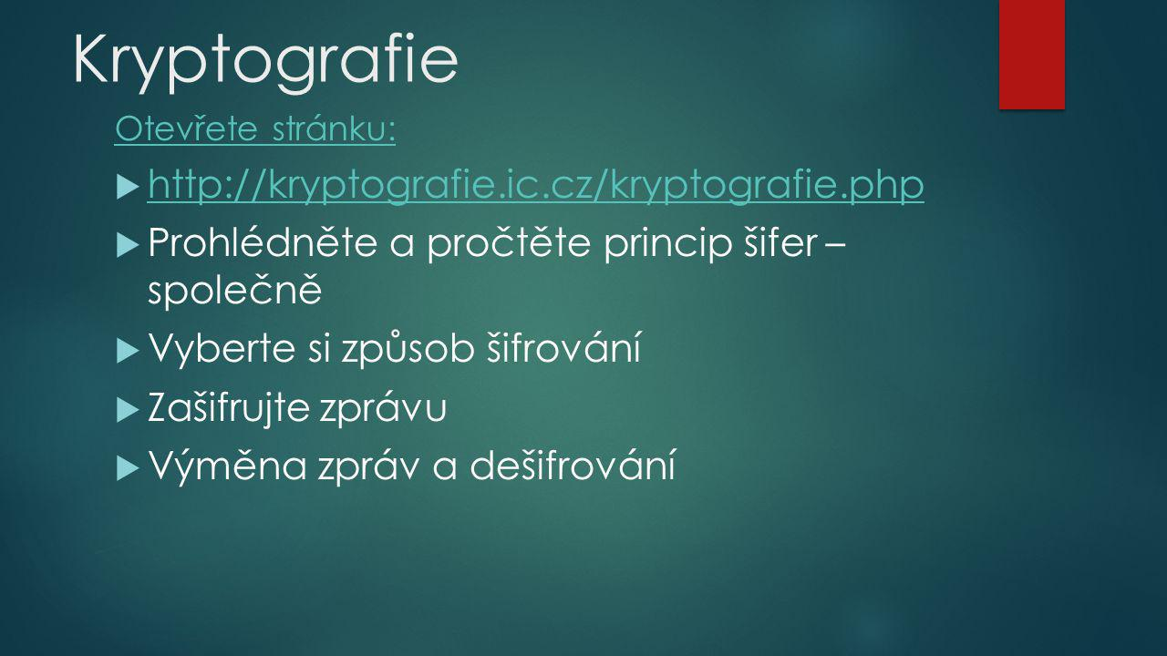 Kryptografie http://kryptografie.ic.cz/kryptografie.php