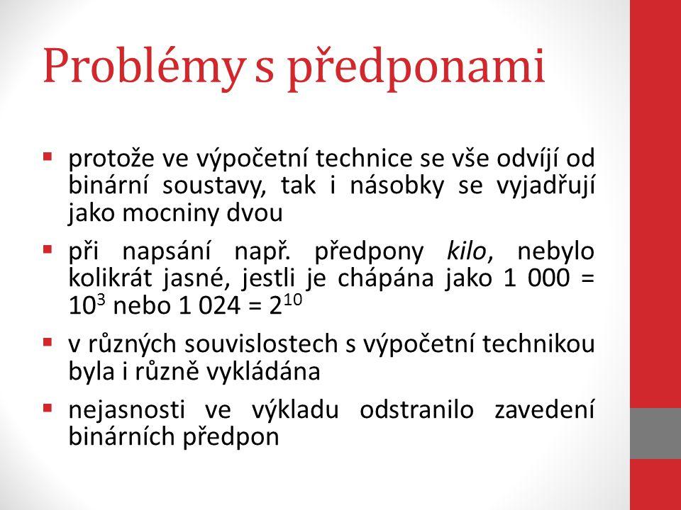 Problémy s předponami protože ve výpočetní technice se vše odvíjí od binární soustavy, tak i násobky se vyjadřují jako mocniny dvou.