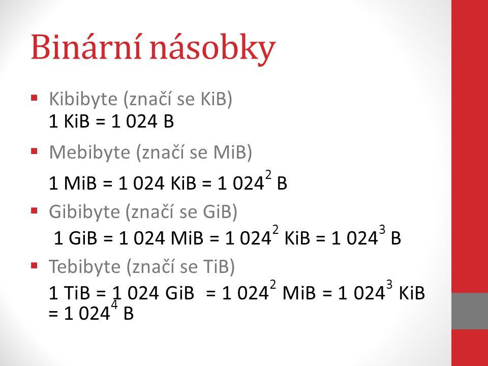 Binární násobky Kibibyte (značí se KiB) 1 KiB = 1 024 B