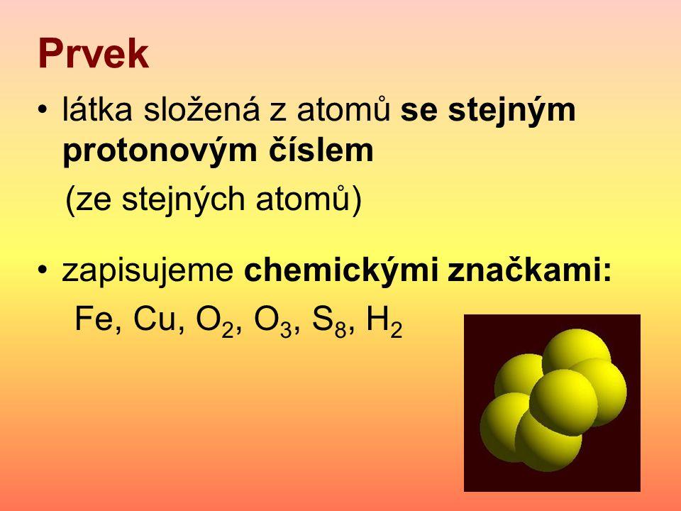 Prvek látka složená z atomů se stejným protonovým číslem