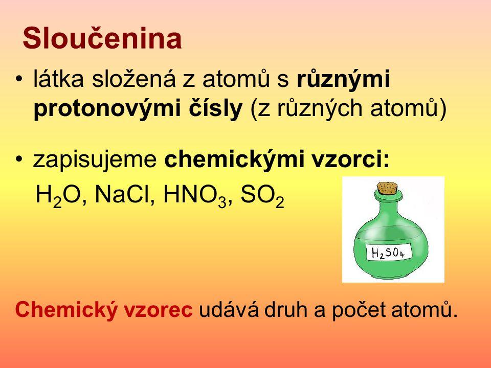 Sloučenina látka složená z atomů s různými protonovými čísly (z různých atomů) zapisujeme chemickými vzorci:
