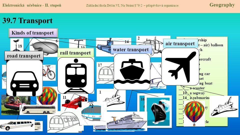 39.7 Transport Means of transport Kinds of transport air transport
