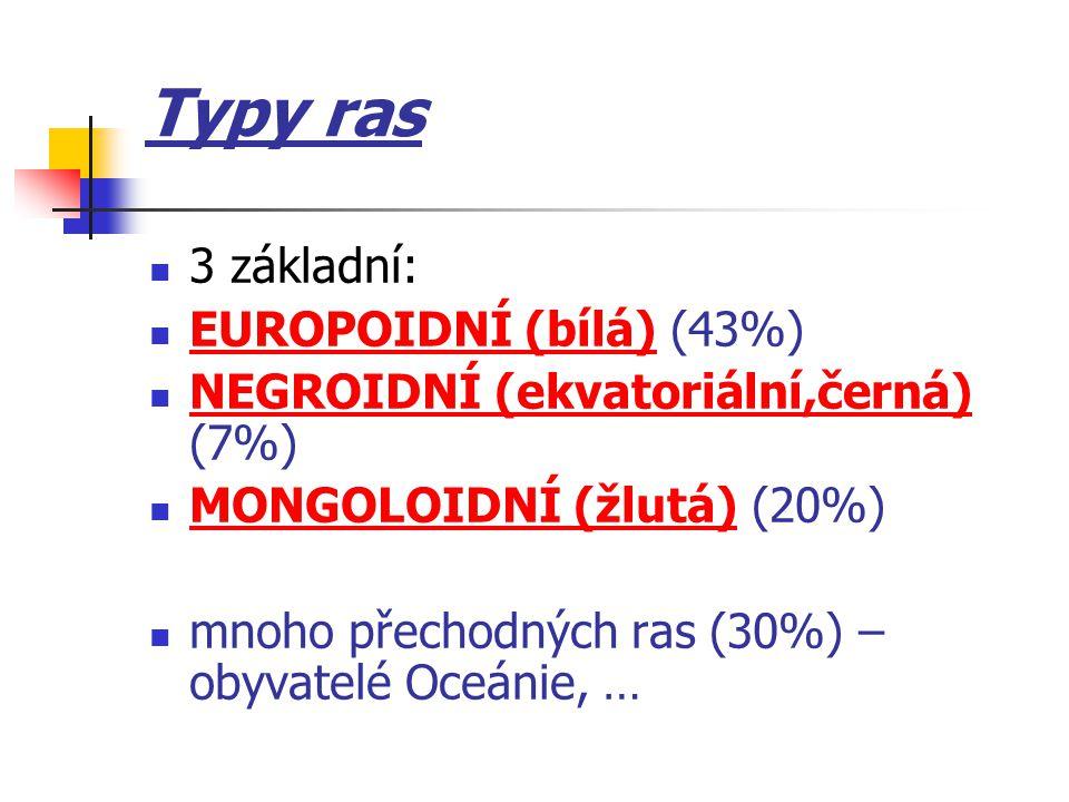 Typy ras 3 základní: EUROPOIDNÍ (bílá) (43%)