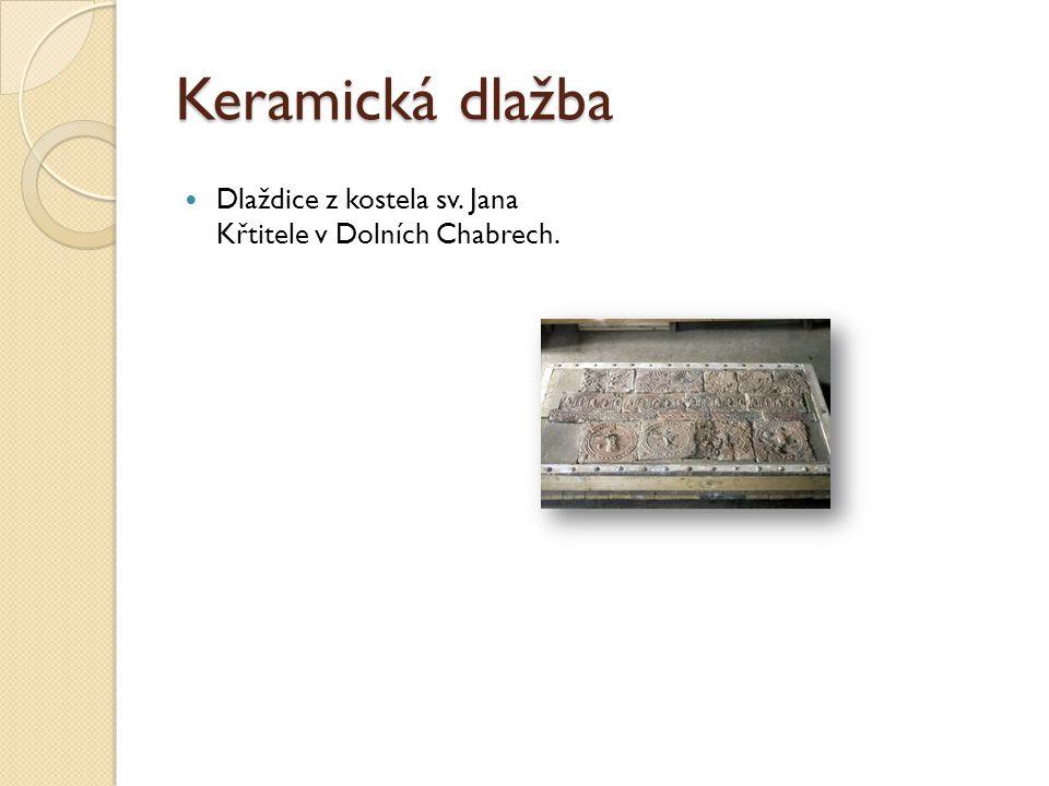 Keramická dlažba Dlaždice z kostela sv. Jana Křtitele v Dolních Chabrech.