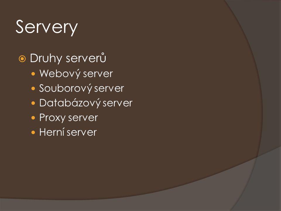 Servery Druhy serverů Webový server Souborový server Databázový server