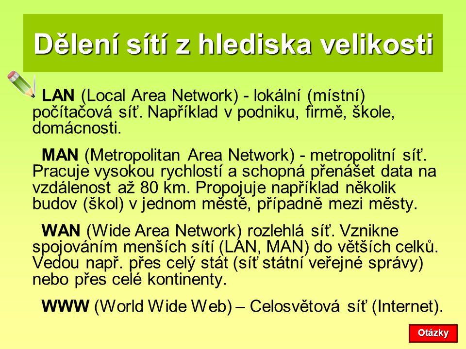 Dělení sítí z hlediska velikosti