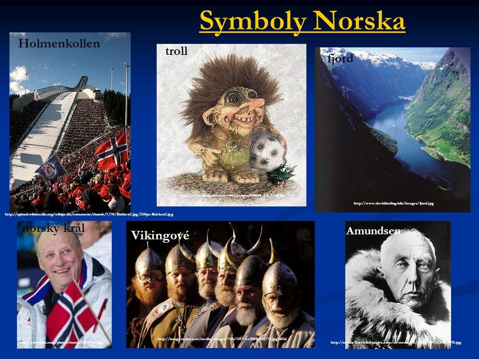 Symboly Norska Holmenkollen troll fjord norský král Vikingové Amundsen
