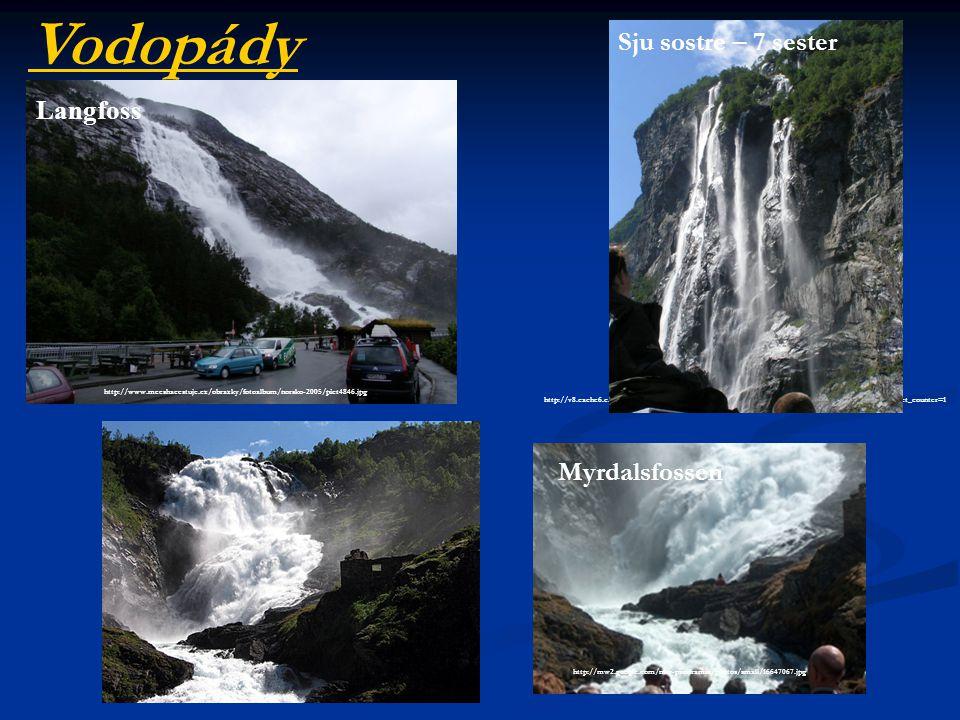 Vodopády Sju sostre – 7 sester Langfoss Myrdalsfossen