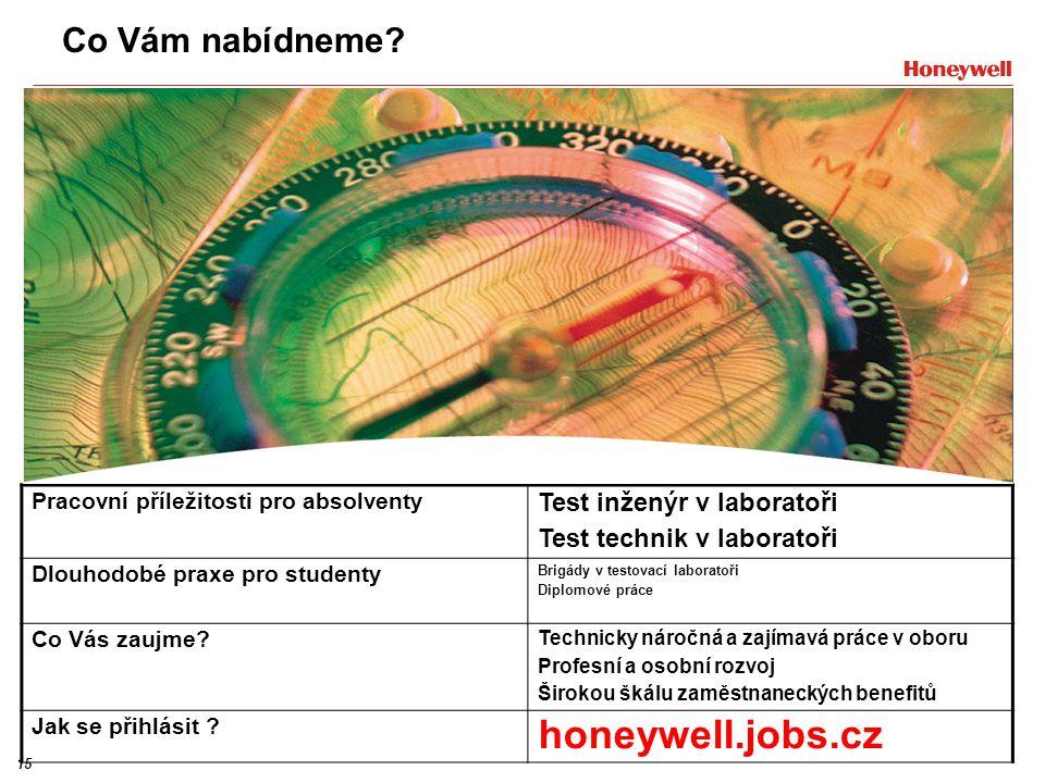 honeywell.jobs.cz Co Vám nabídneme Test inženýr v laboratoři