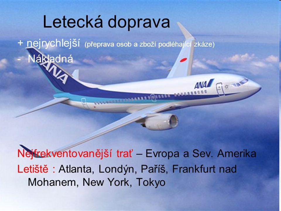 Letecká doprava + nejrychlejší (přeprava osob a zboží podléhající zkáze) Nákladná. Nejfrekventovanější trať – Evropa a Sev. Amerika.