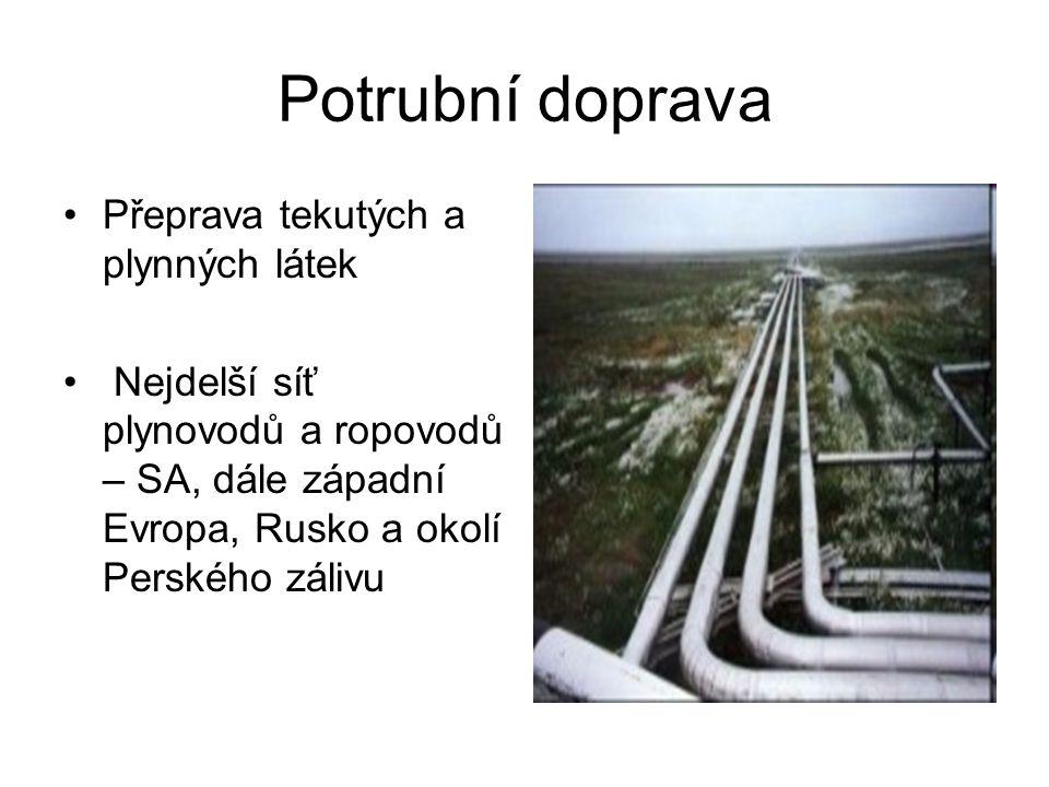 Potrubní doprava Přeprava tekutých a plynných látek