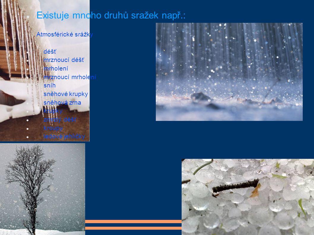 Existuje mnoho druhů sražek např.: Atmosférické srážky