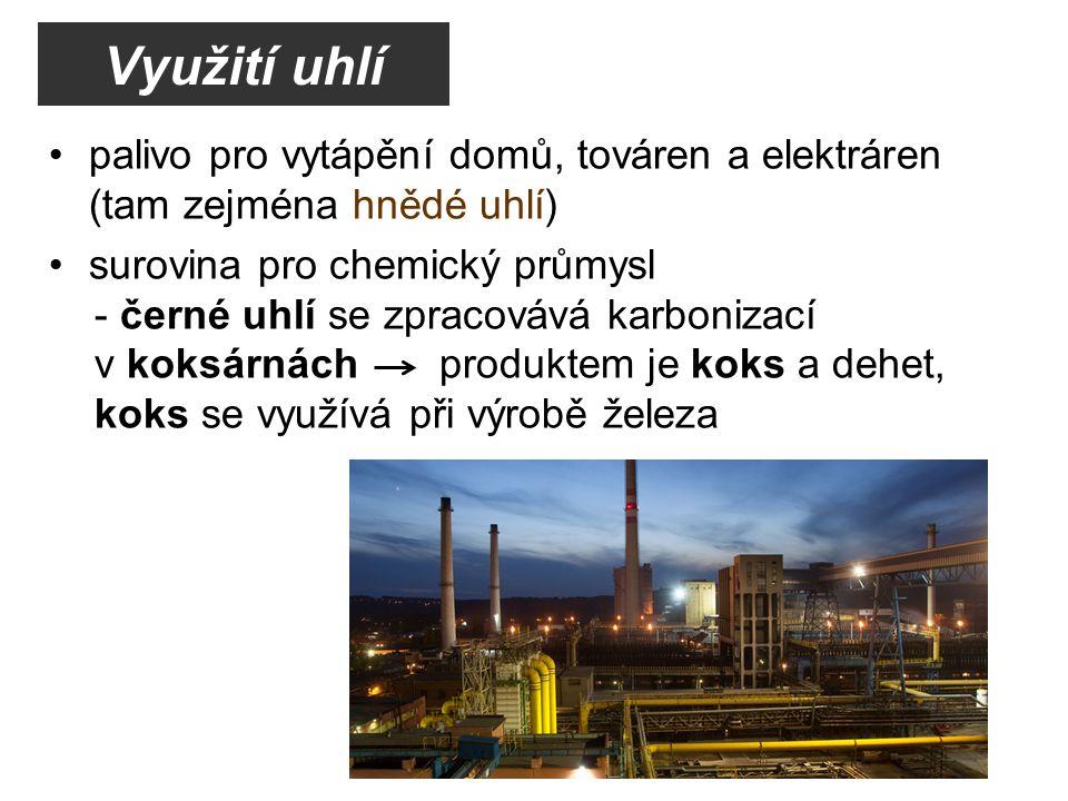 Využití uhlí palivo pro vytápění domů, továren a elektráren (tam zejména hnědé uhlí) surovina pro chemický průmysl.