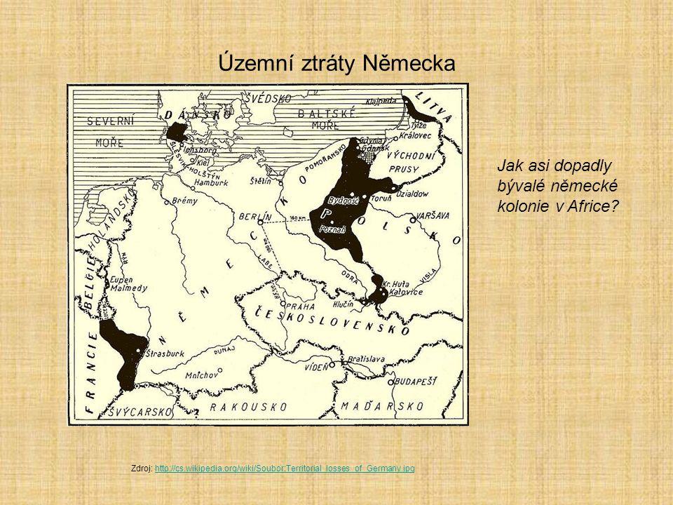Územní ztráty Německa Jak asi dopadly bývalé německé kolonie v Africe