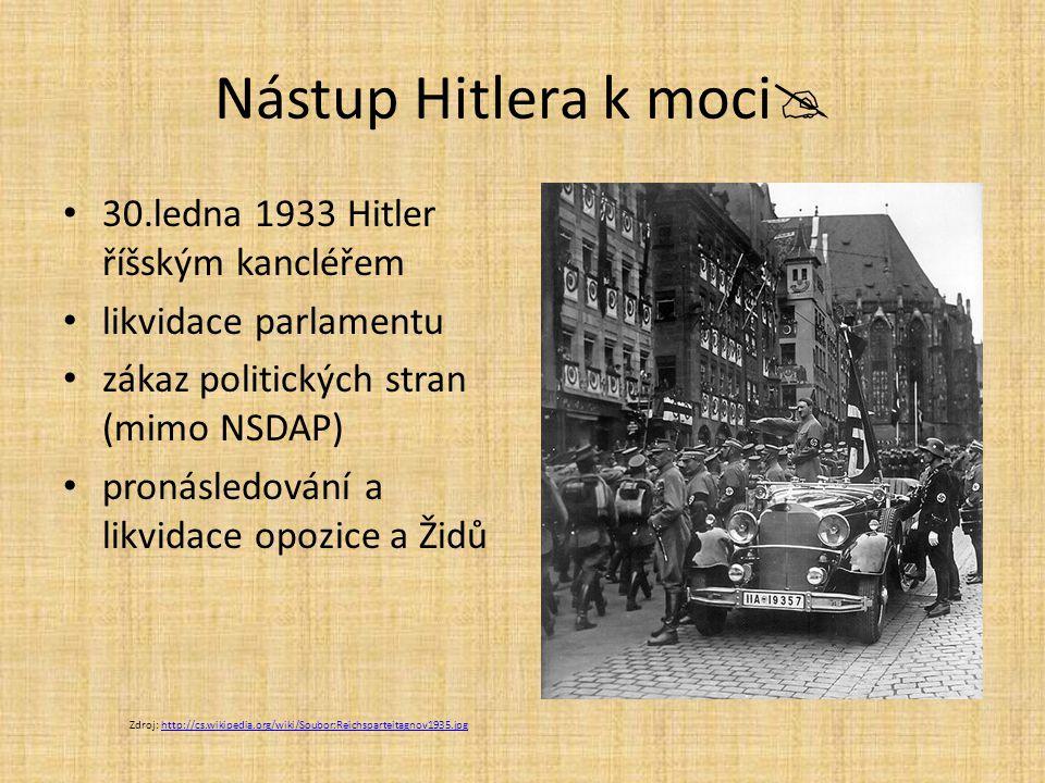Nástup Hitlera k moci 30.ledna 1933 Hitler říšským kancléřem