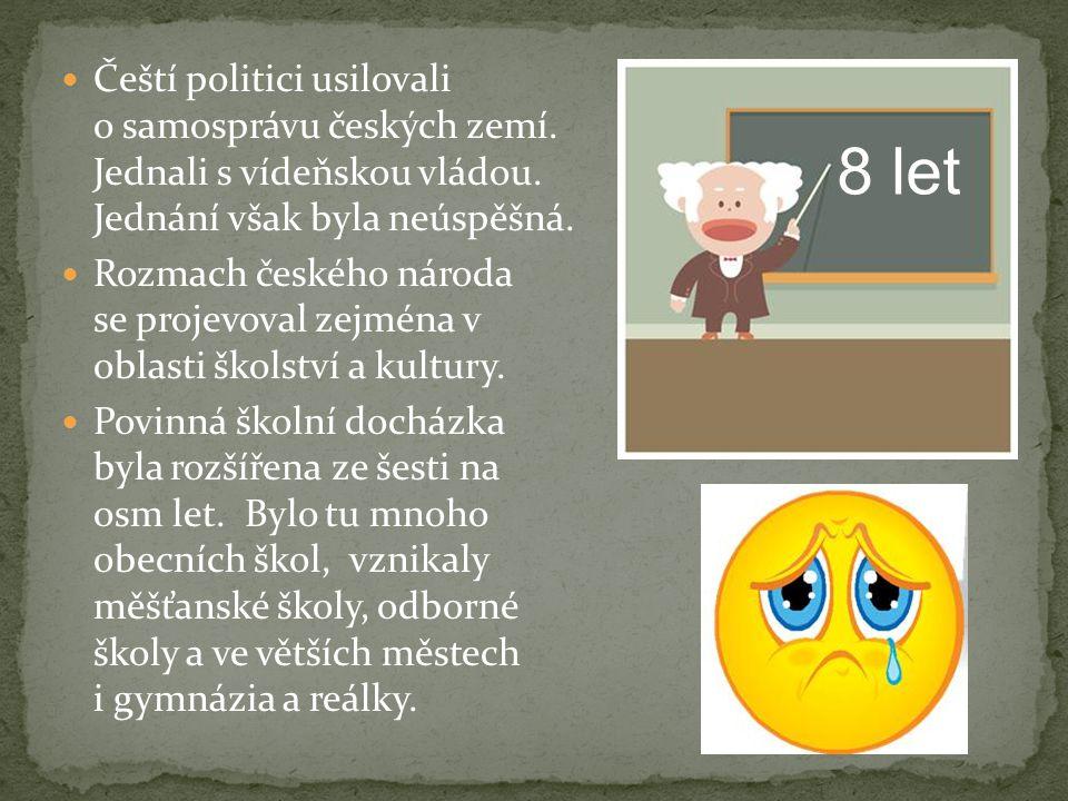 Čeští politici usilovali o samosprávu českých zemí