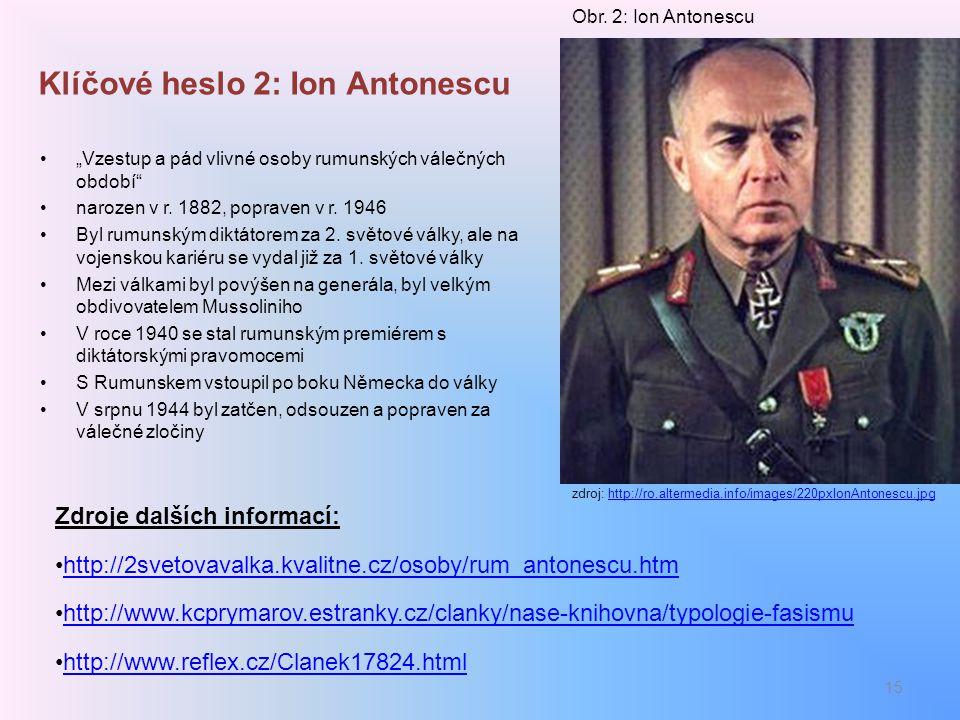 Klíčové heslo 2: Ion Antonescu