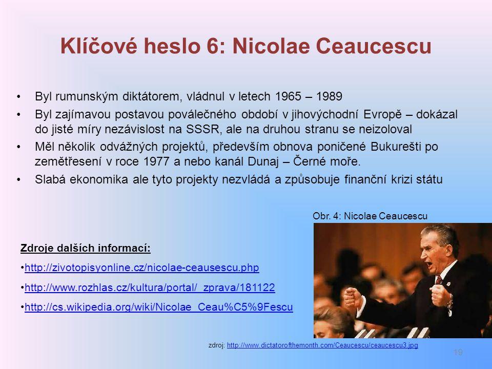 Klíčové heslo 6: Nicolae Ceaucescu