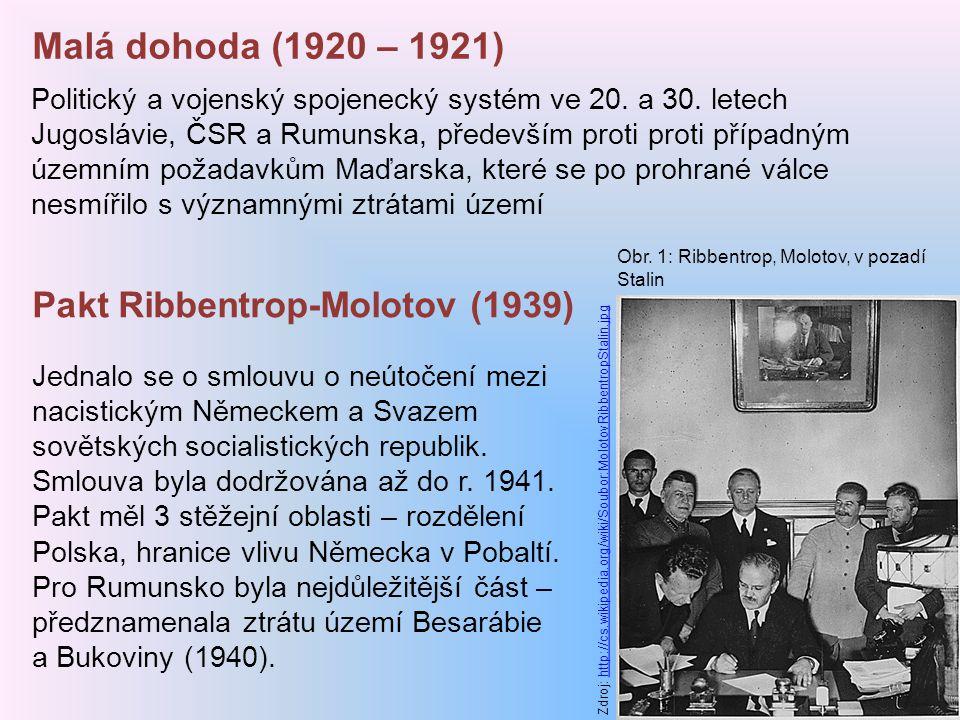 Malá dohoda (1920 – 1921) Pakt Ribbentrop-Molotov (1939)