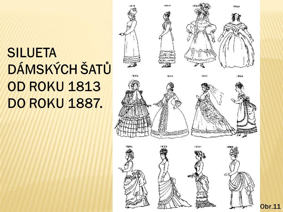 SILUETA DÁMSKÝCH ŠATŮ OD ROKU 1813 DO ROKU 1887. Obr.11