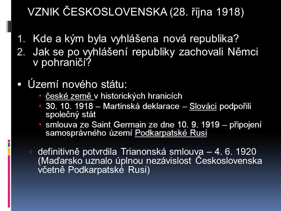 VZNIK ČESKOSLOVENSKA (28. října 1918)