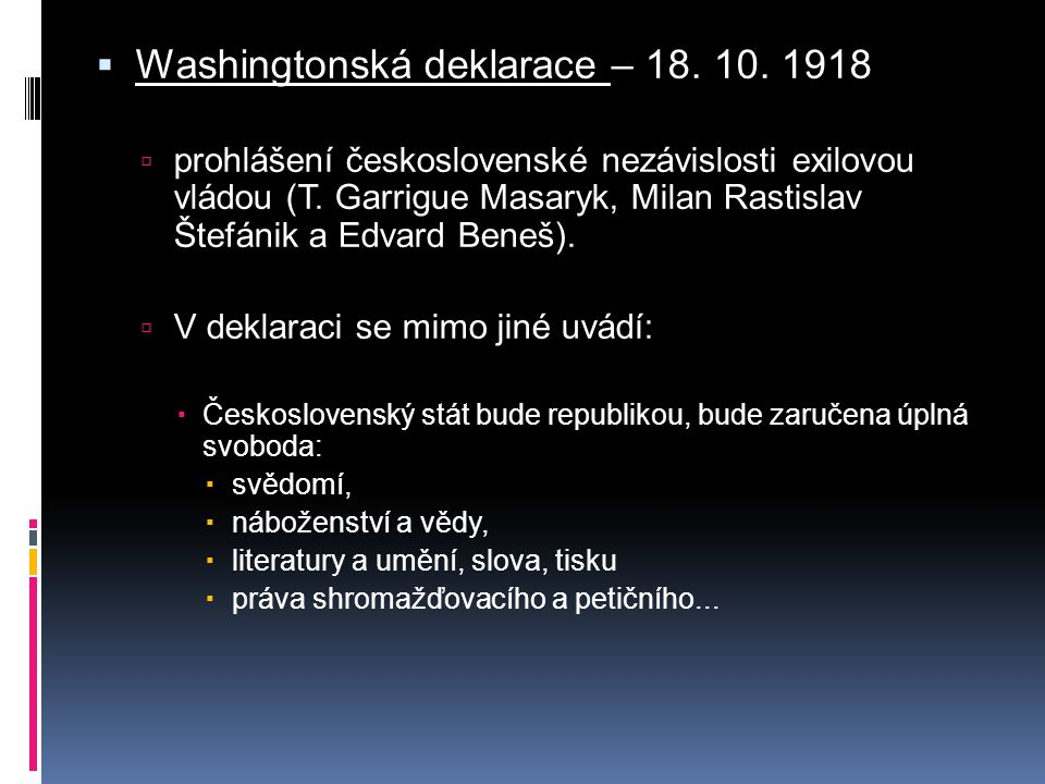 Washingtonská deklarace – 18. 10. 1918