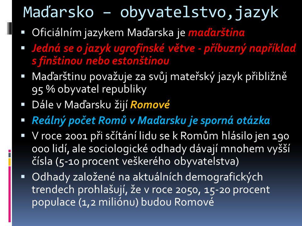 Maďarsko – obyvatelstvo,jazyk