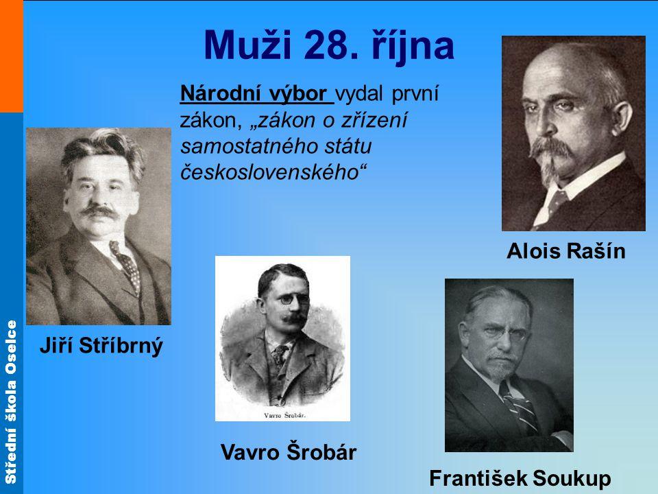 """Muži 28. října Národní výbor vydal první zákon, """"zákon o zřízení samostatného státu československého"""