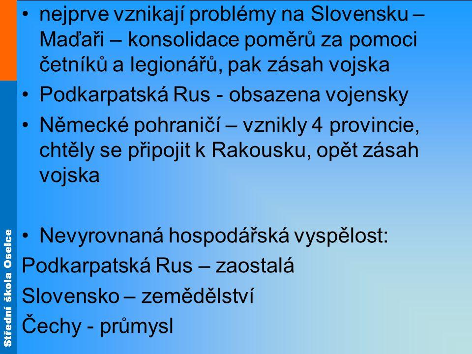 nejprve vznikají problémy na Slovensku – Maďaři – konsolidace poměrů za pomoci četníků a legionářů, pak zásah vojska