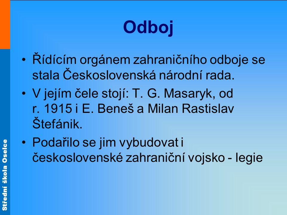 Odboj Řídícím orgánem zahraničního odboje se stala Československá národní rada.