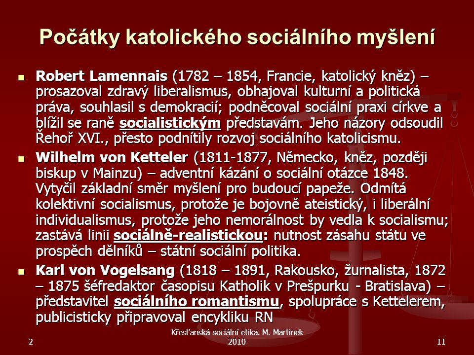 Počátky katolického sociálního myšlení