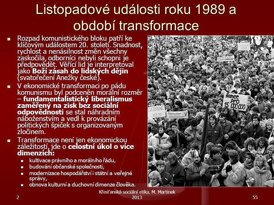 Listopadové události roku 1989 a období transformace