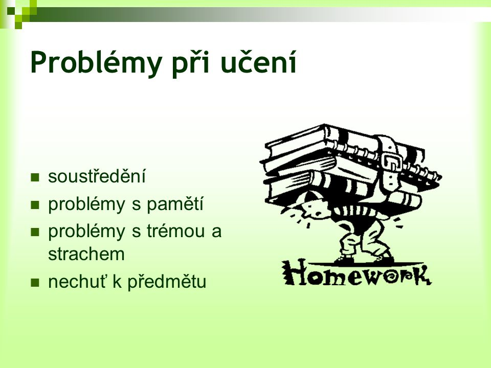 Problémy při učení soustředění problémy s pamětí
