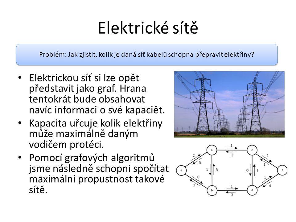 Elektrické sítě Problém: Jak zjistit, kolik je daná síť kabelů schopna přepravit elektřiny