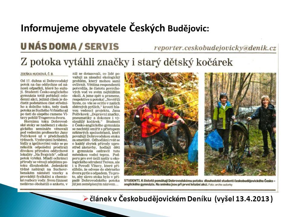 Informujeme obyvatele Českých Budějovic: