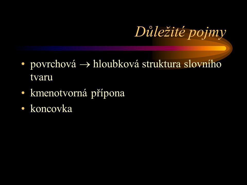 Důležité pojmy povrchová  hloubková struktura slovního tvaru