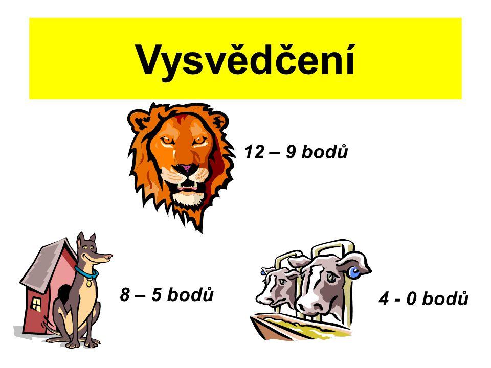 Vysvědčení 12 – 9 bodů 8 – 5 bodů 4 - 0 bodů