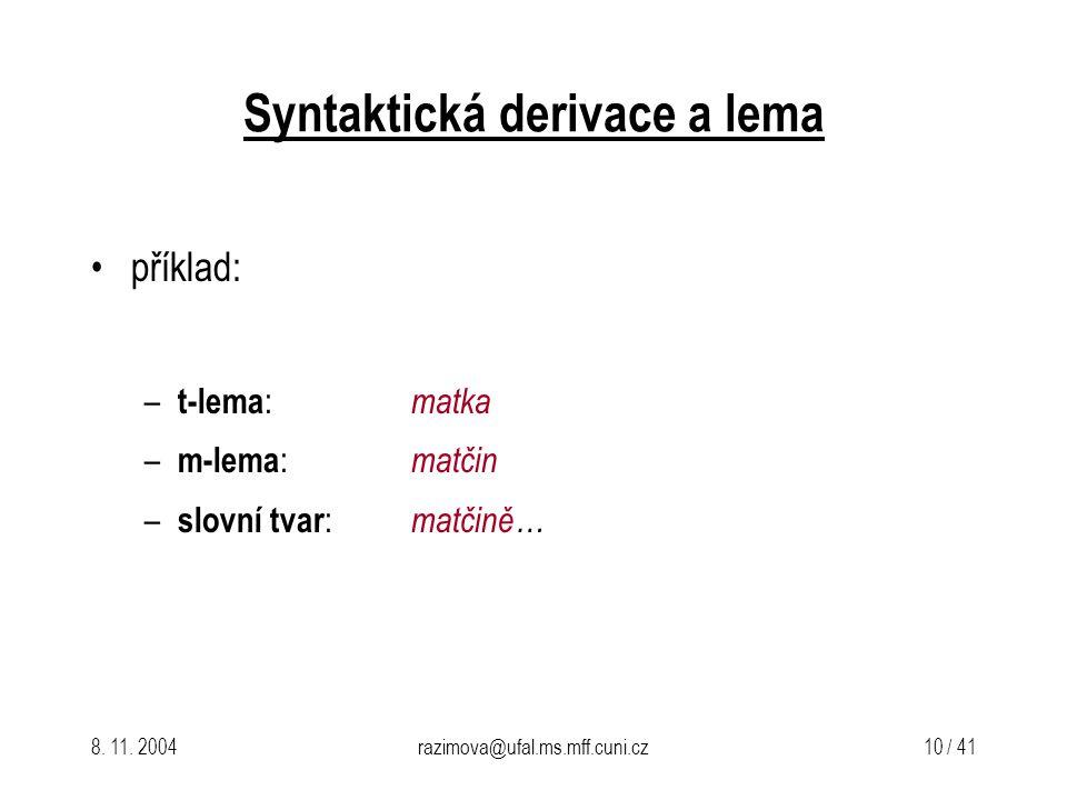 Syntaktická derivace a lema