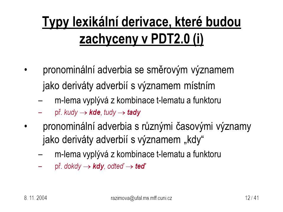 Typy lexikální derivace, které budou zachyceny v PDT2.0 (i)